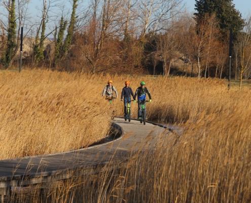 Trois personnes roulant sur la route en trottinette au milieu des champs